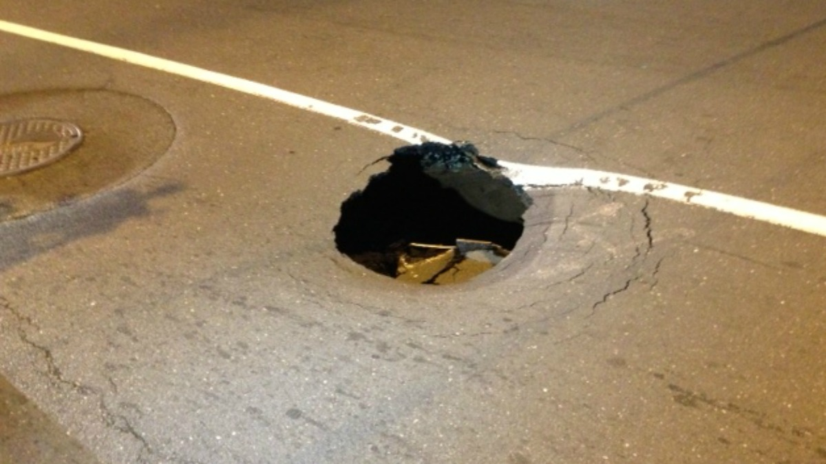 Chapel Street was closed Tuesday night due to a sink hole.