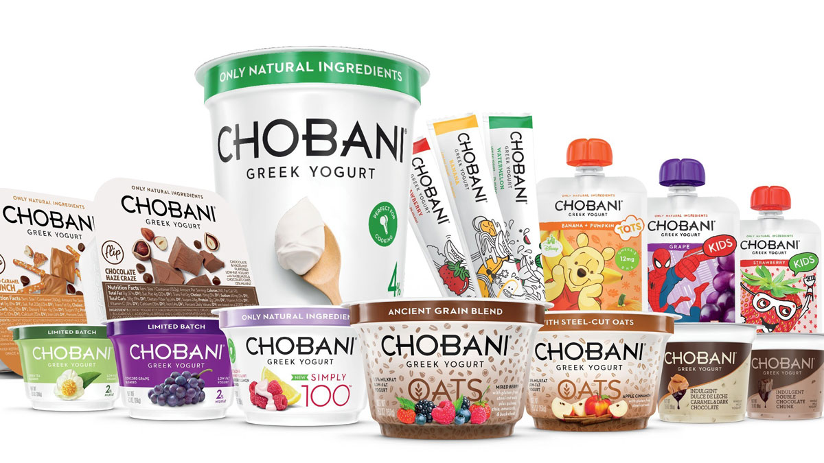 Chobani has filed a complaint against rival company Dannon amid controversy over an ad campaign promoting Chobani's Simply 100 line (left of center).