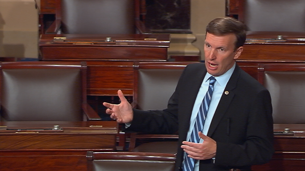 This frame grab provided by Senate Television shows Sen. Chris Murphy, D-Conn., speaking on the floor of the Senate Wednesday, June 15, 2016, where he launched a filibuster demanding a vote on gun control measures. The move comes three days after people were killed in a mass shooting in Orlando.