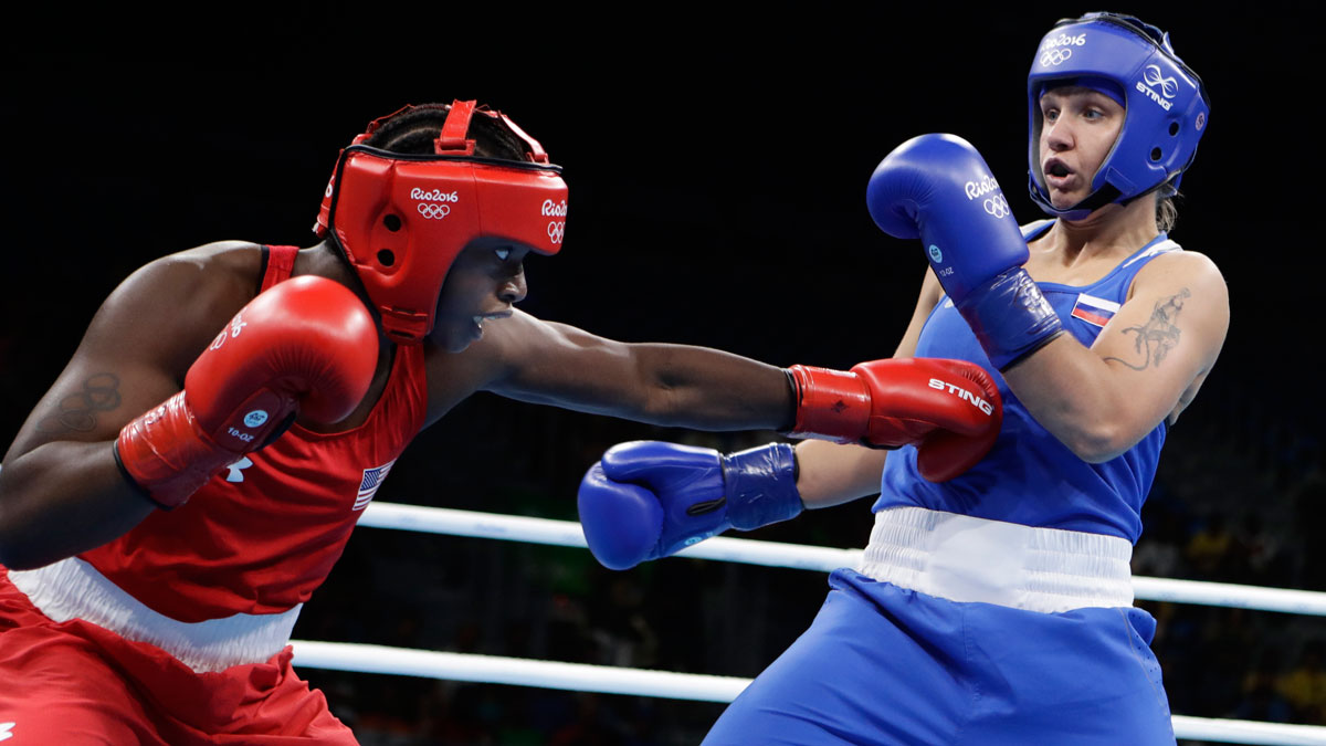 American boxer Claresa Maria Shields, left, fights Russia's Yaroslava Yakushina during a women's middleweight 75-kg quarterfinals boxing match at the 2016 Summer Olympics in Rio de Janeiro, Brazil, on Aug. 17, 2016.
