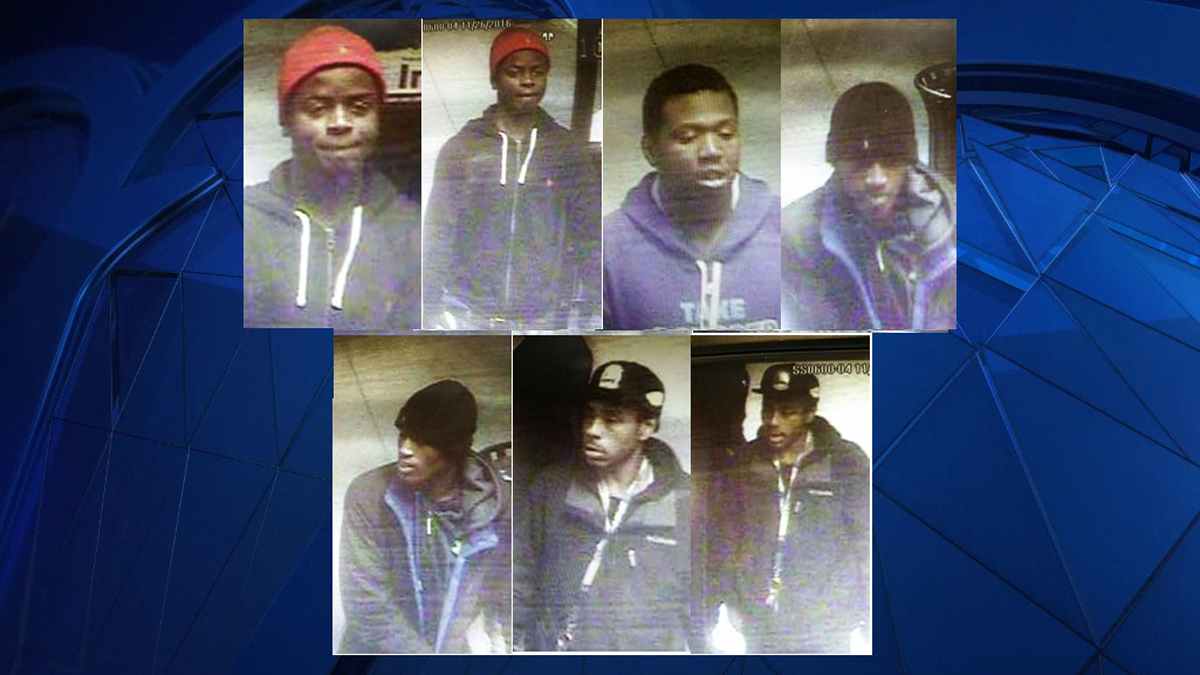 Clinton police are searching for the suspects pictured above in connection with a rash of car burglaries and thefts around town early Saturday morning.
