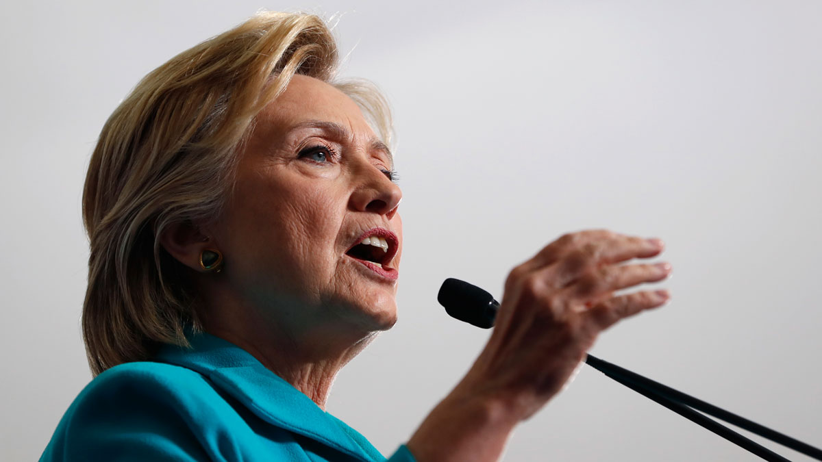 Democratic presidential candidate Hillary Clinton speaks during a campaign event at Truckee Meadows Community College, in Reno, Nev., on Aug. 25, 2016.