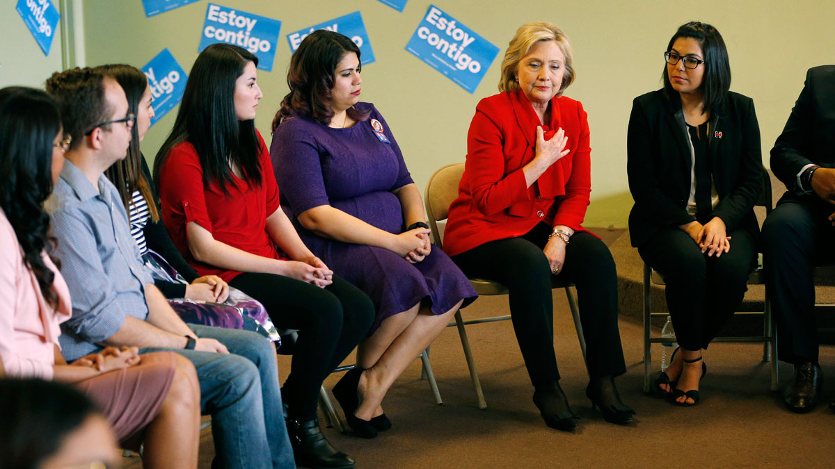 Democratic presidential candidate Hillary Clinton, second from right, speaks at an event to meet with young immigrants, or so-called