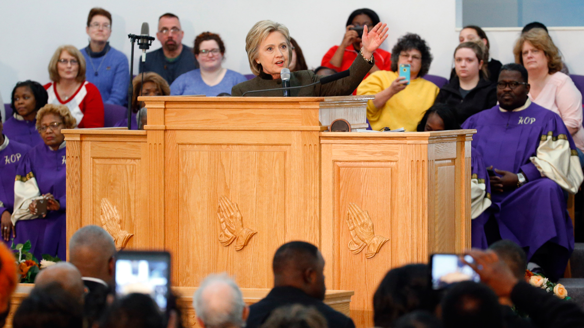 Democratic presidential candidate Hillary Clinton speaks at the House Of Prayer Missionary Baptist Church, Sunday, Feb. 7, 2016 in Flint, Mich.