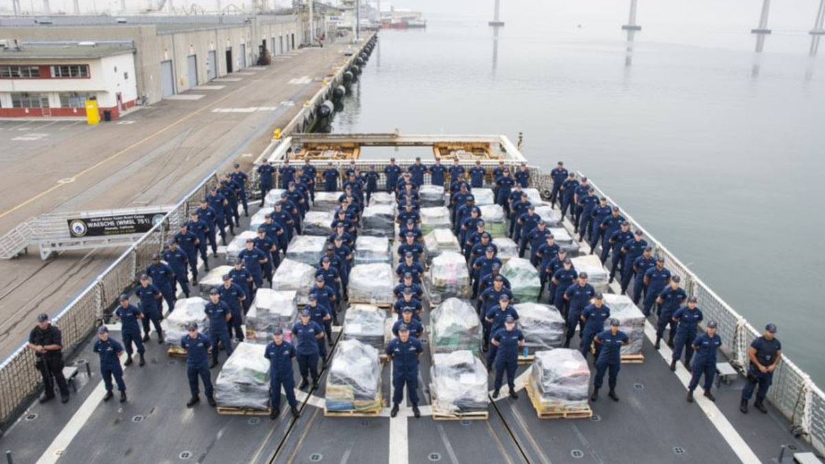 The crew of the U.S. Coast Guard Cutter Waesche offloaded approximately 18 tons of cocaine at the 10th Avenue Marine Terminal in San Diego, California, on June 15, 2017.