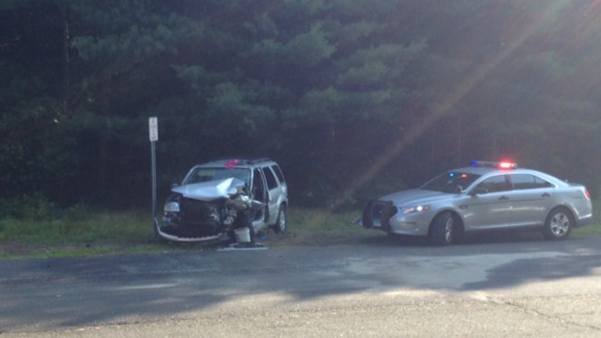 Two people were injured after their cars collided on Route 6 in Columbia Friday morning.