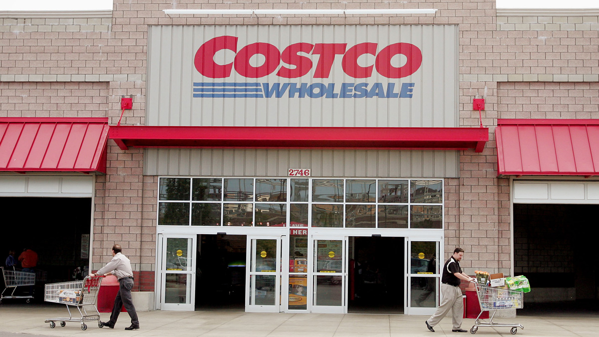 In this file photo, shoppers leave the Costco Store May 26, 2005 in Chicago, Illinois.
