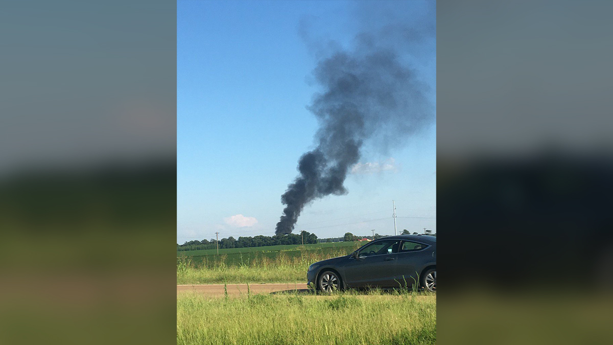 A C-130 military plane crashed Monday evening on Sunflower County line in Mississippi, June 10, 2017.