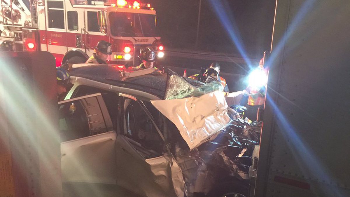 A car and a tractor trailer were involved in a crash on I-84 east in Danbury Tuesday morning.