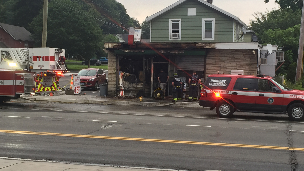 Crews responded to a fire at the Hi-Way Package Store in Danbury Tuesday morning.