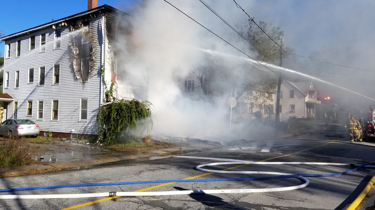 A fire at a multi-family home on Franklin Street in Danielson Thursday.