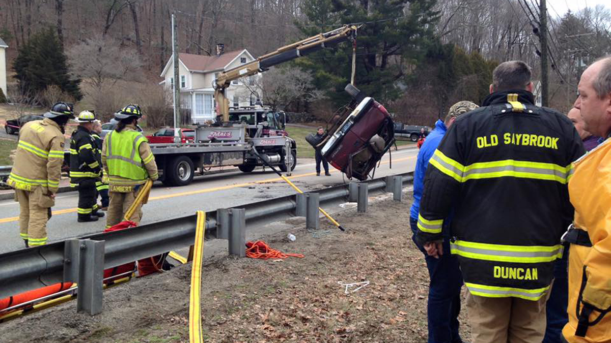 A woman was killed when she crashed her vehicle into the river off Main Street in Deep River Saturday afternoon.