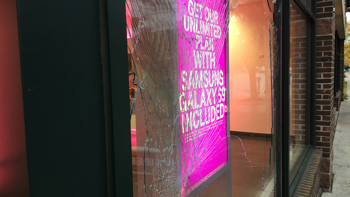 A deer ran into the front window of this T-Mobile store on Main Street in Middletown Monday. Workers said the deer did not actually get into the store and quickly took off.