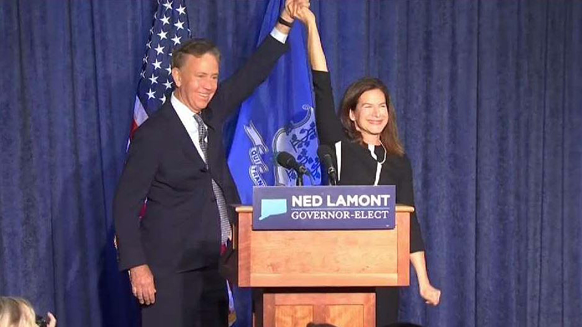 Democratic Governor-Elect Ned Lamont and Lieutenant Governor-Elect Susan Bysiewicz celebrate their victory.