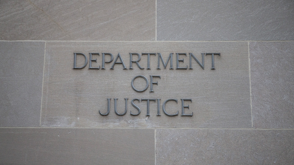 In this Nov. 7, 2018, file photo, the U.S. Department of Justice is pictured in Washington, DC.