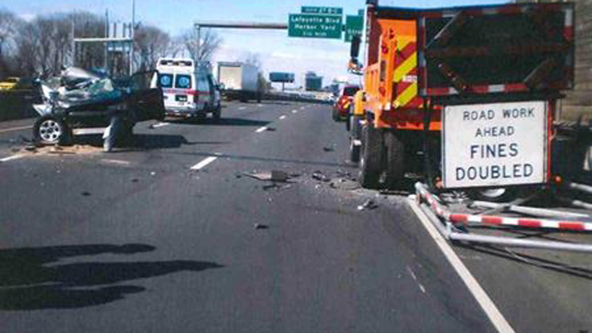 A CT DOT truck was hit by an SUV while working an active construction zone on I-95 Sunday.