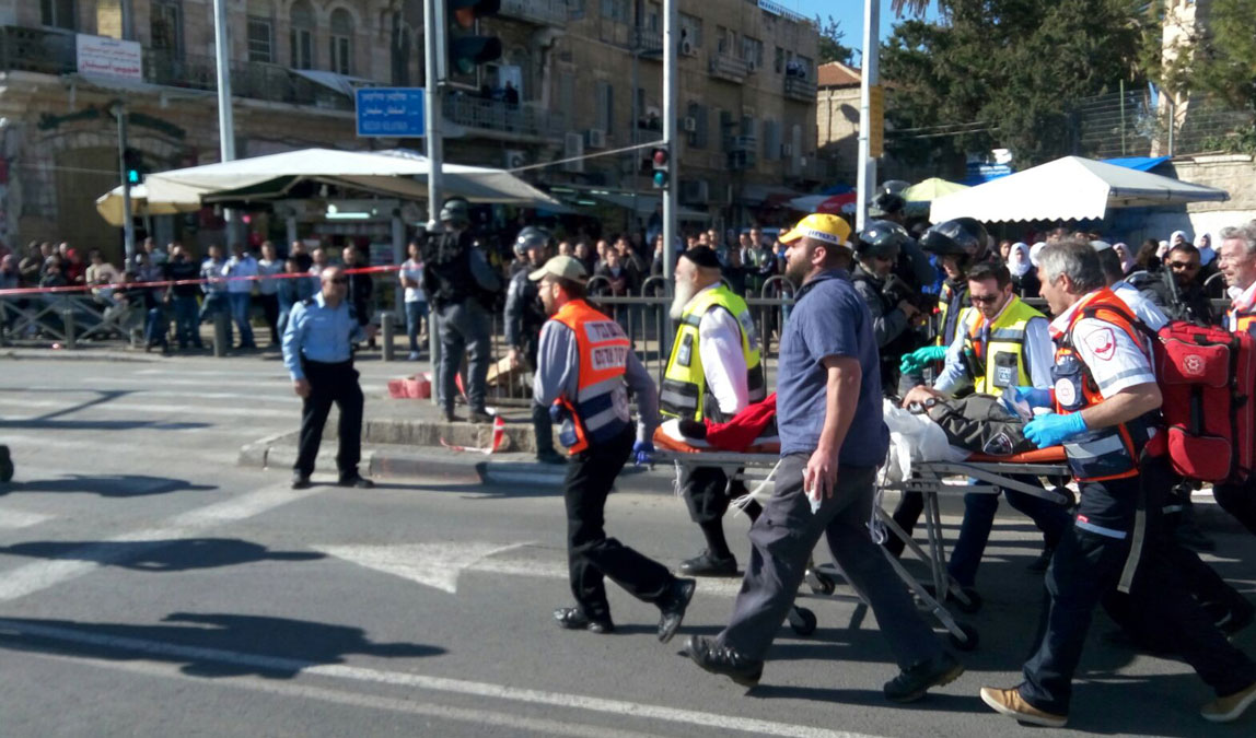 Scene from the attack on Israeli police officers at Damascus Gate in Jerusalem on Feb. 3, 2016.