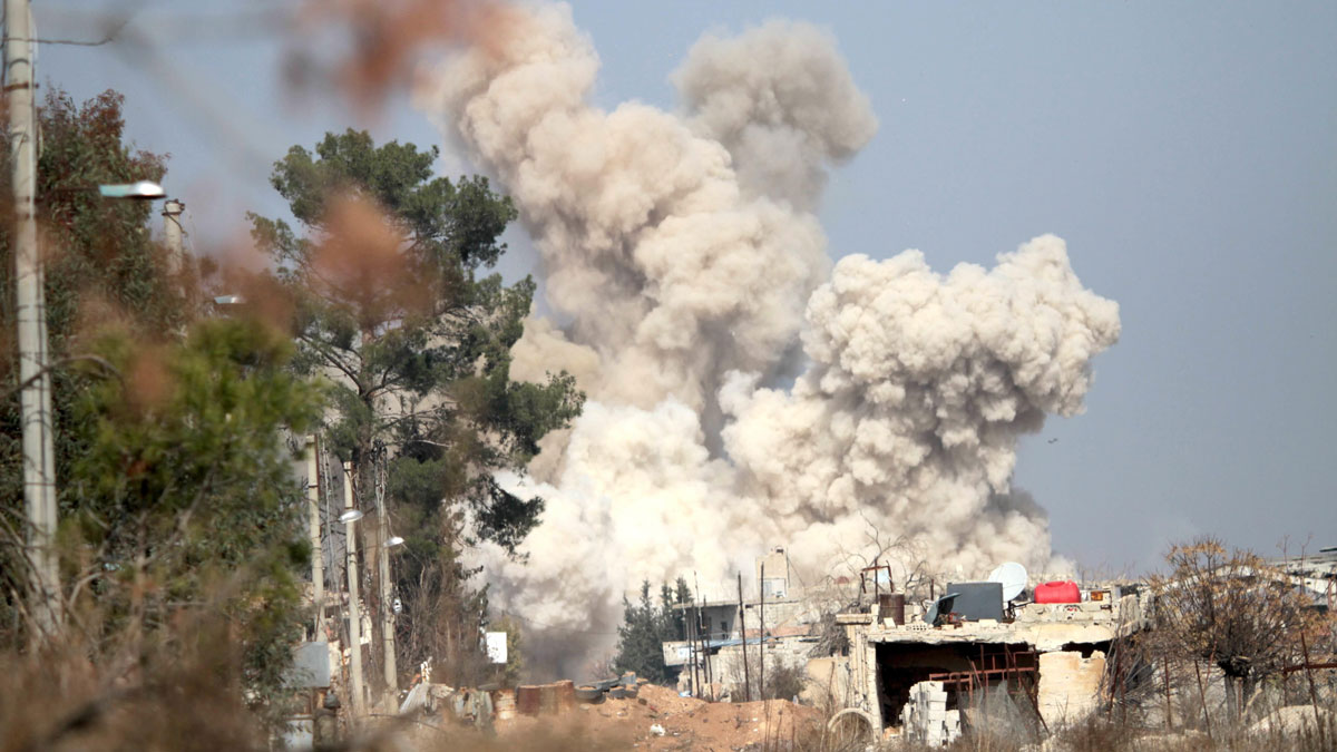 Smoke rises following airstrike targeting rebels in Daraya, southwest of the capital Damascus of Syria, on Feb. 24, 2016. Rebels and locals reached a deal that would see the evacuation of the area after years of conflict.