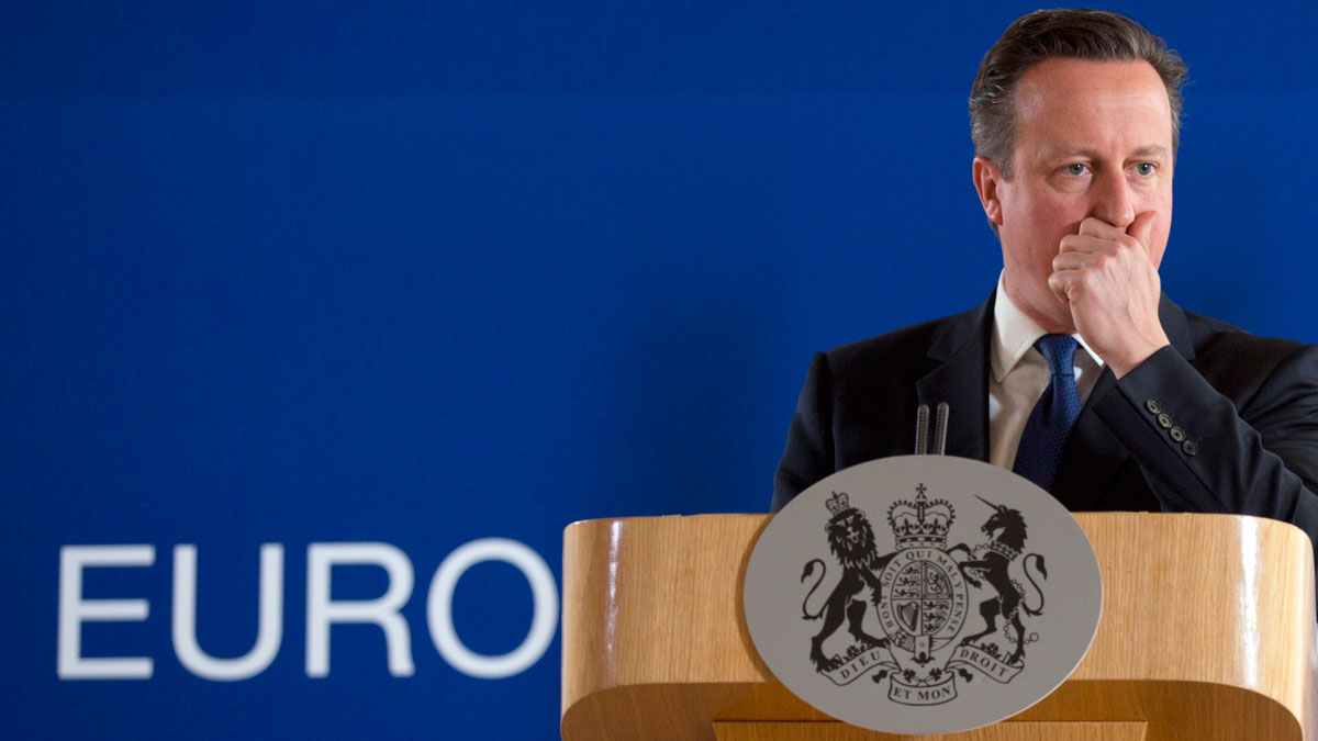 In this June 26, 2015 file photo, British Prime Minister David Cameron pauses before speaking during a media conference at an EU summit in Brussels. Opinion polls suggest the vote to stay in the EU has a narrow lead, in the days ahead of the referendum.