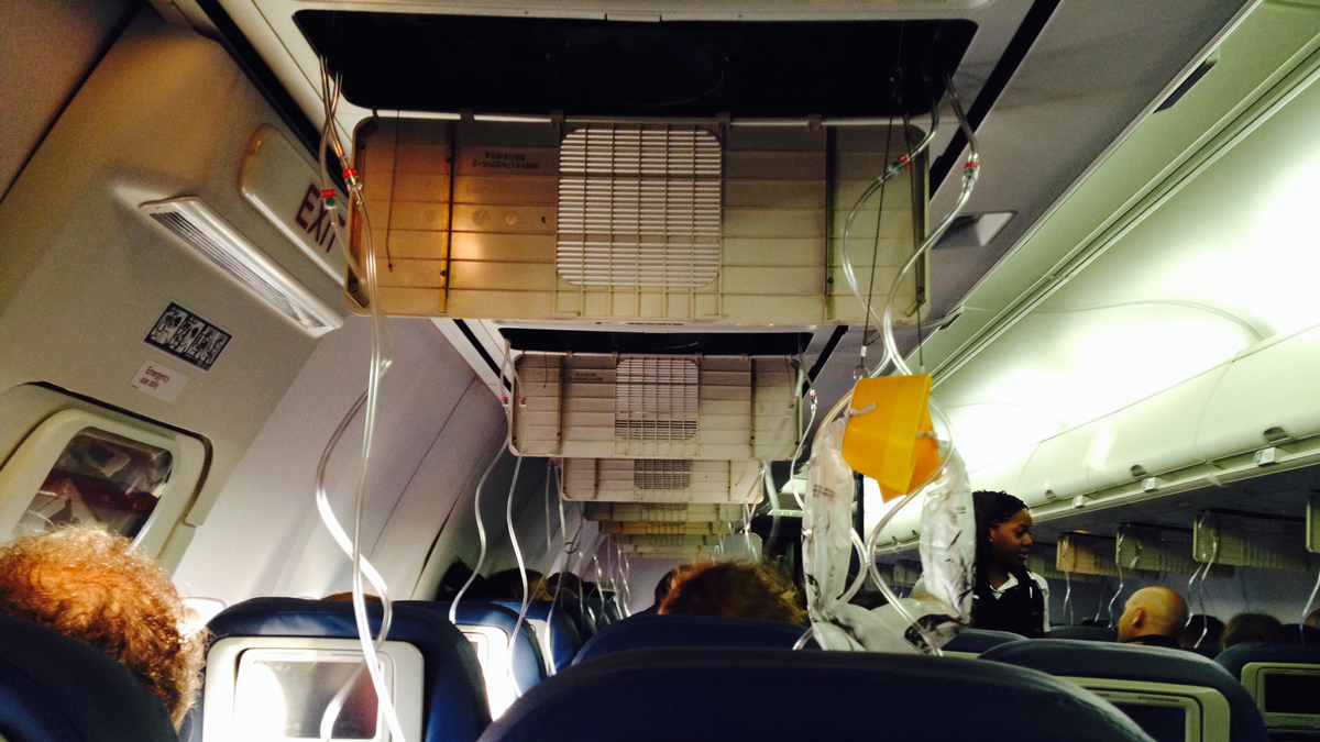 A snapshot of the inside of Delta Flight 978 as it made its emergency return to the San Diego International Airport on Feb. 22, 2014, following pressure issues.