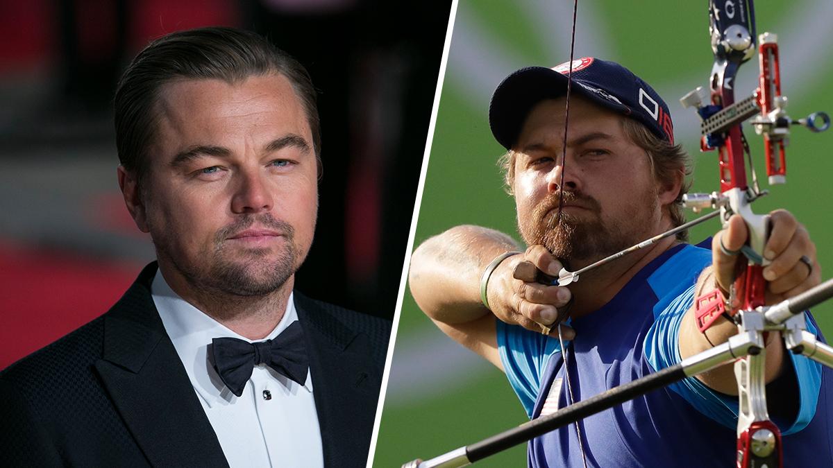 U.S archer Brady Ellison, left, at the Rio Olympics and Leonardo DiCaprio.