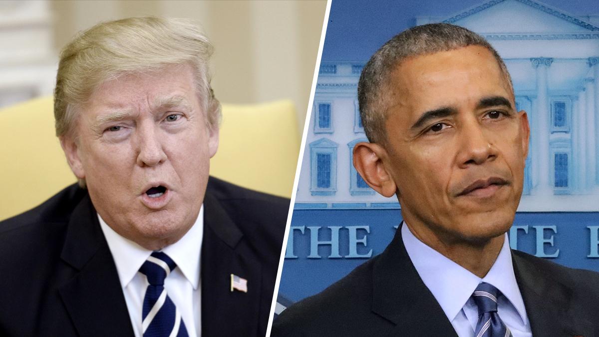 President Donald Trump, at left, and former President Barack Obama, right.