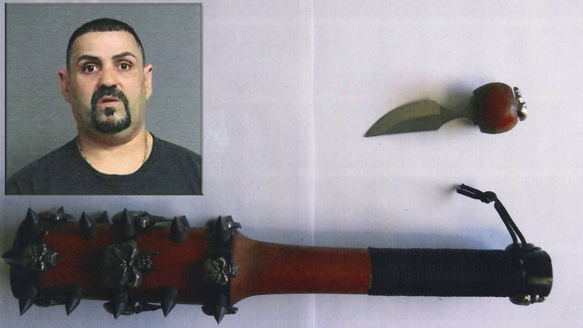 Connecticut State Police say they found these weapons when they pulled over Domingos Reis (inset) on Route 7 in Brookfield Saturday.