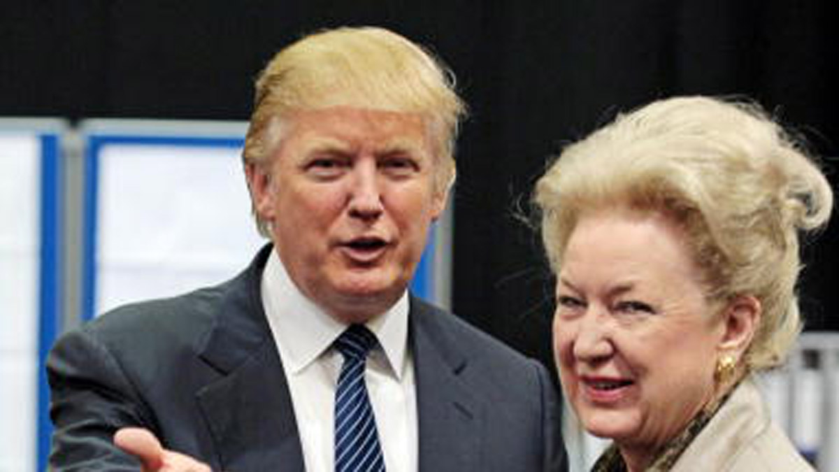 Donald Trump (L) and his sister, federal appeals court judge, Maryanne Trump Barry.