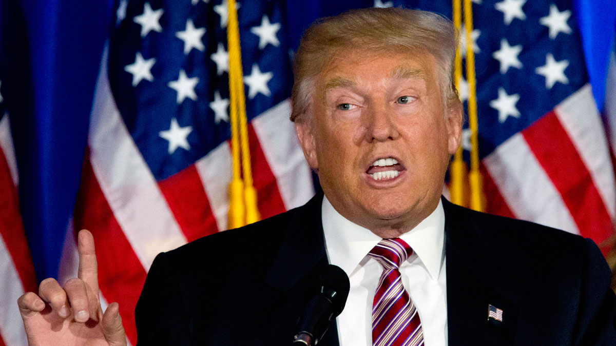 In this June 7, 2016 file photo, Republican presidential candidate Donald Trump speaks in Briarcliff Manor, N.Y.
