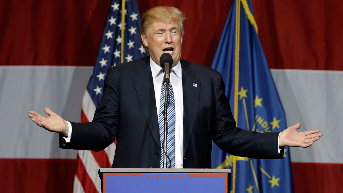 In this July 12, 2016 file photo, Republican presidential candidate Donald Trump speaks at a rally in Westfield, Ind.