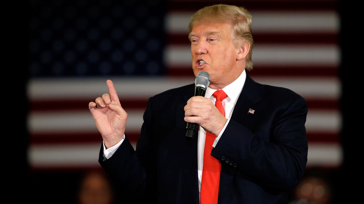 Republican presidential candidate Donald Trump speaks at a campaign stop, Wednesday, March 30, 2016, in Appleton, Wis.