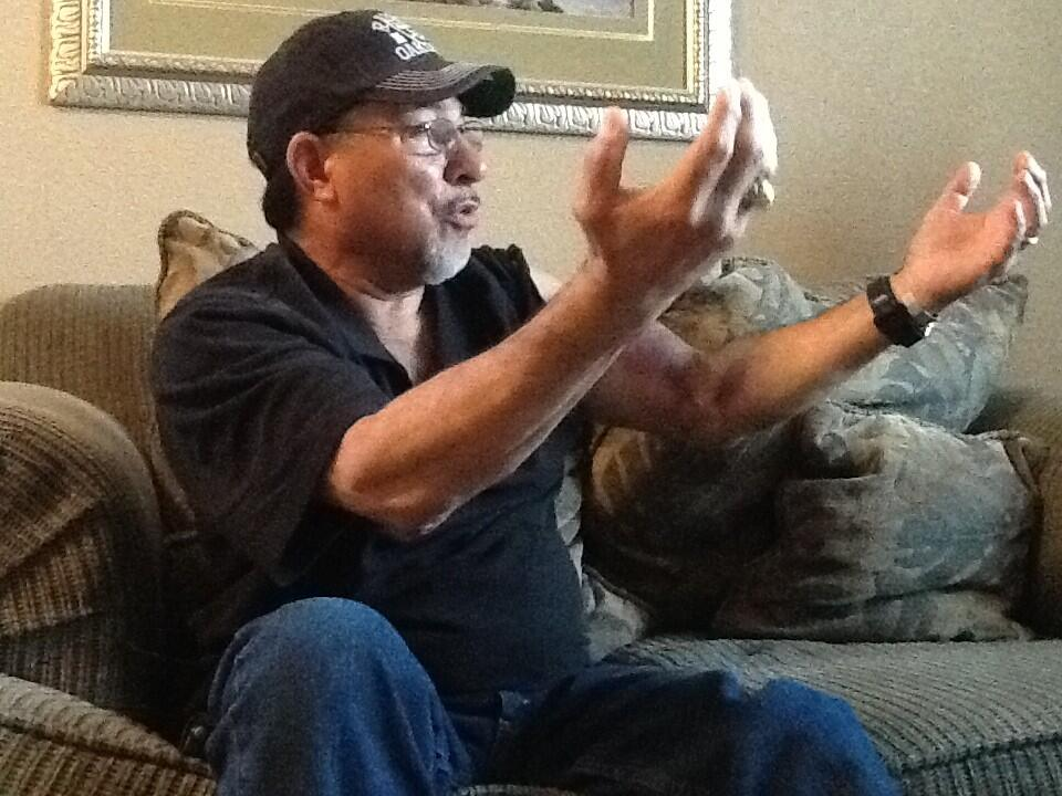 Donnie Navidad, 61, saved a woman from jumping to her death after Sunday's Oakland Raiders game.