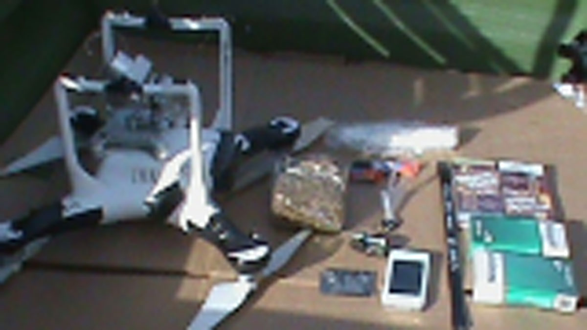 Unmanned aerial vehicle and contraband found on the grounds of Oklahoma State Penitentiary.