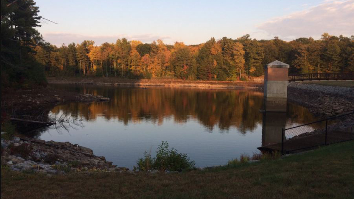 The water level at Killingworth Reservoir is down between 8 and 9 feet, according to Connecticut Water officials.