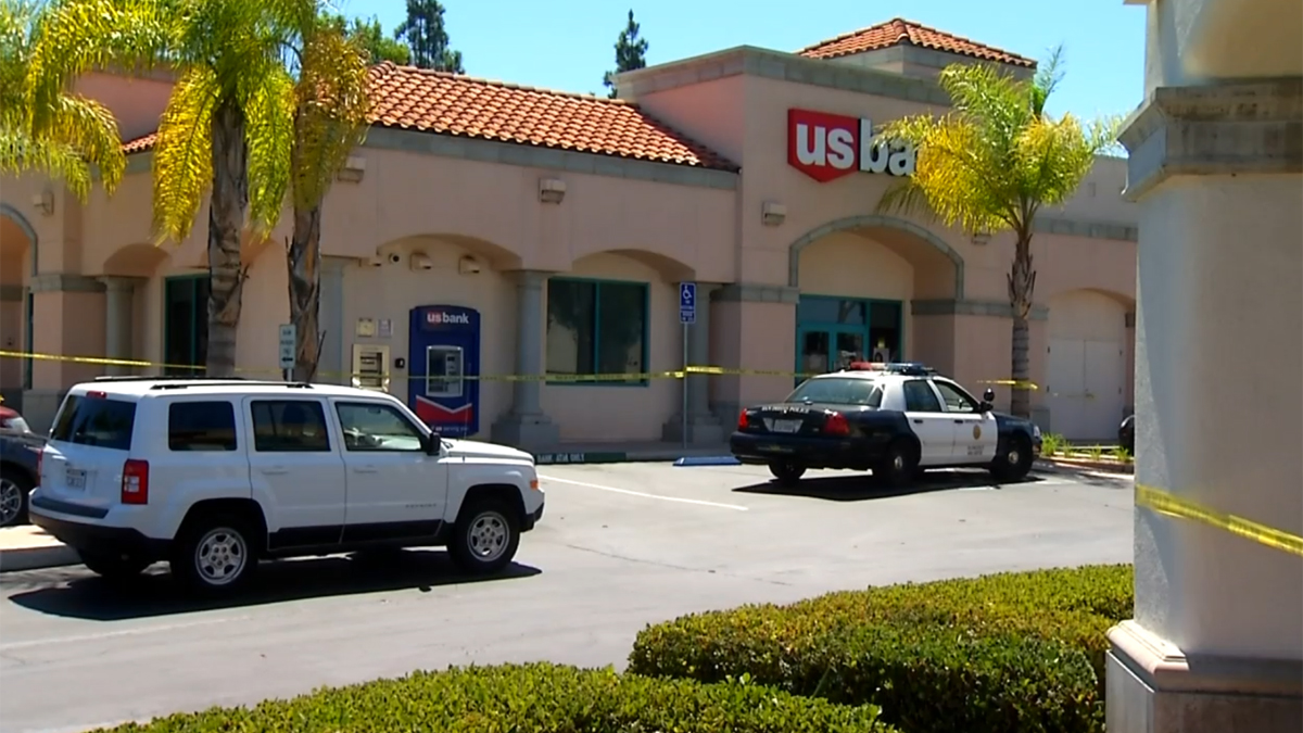 The scene of the two bank robberies on Aug. 30, 2014.