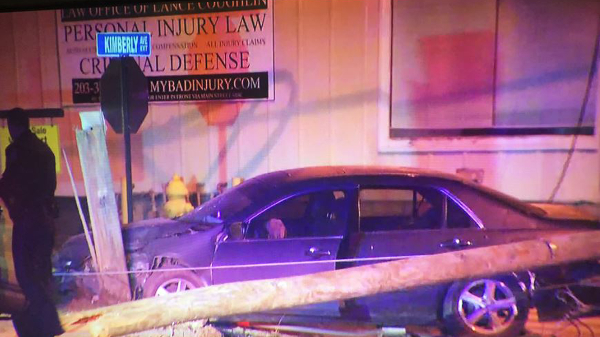 East Haven police say a 14-year-old driver crashed a car into a utility pole on Kimberly Avenue early Wednesday morning.