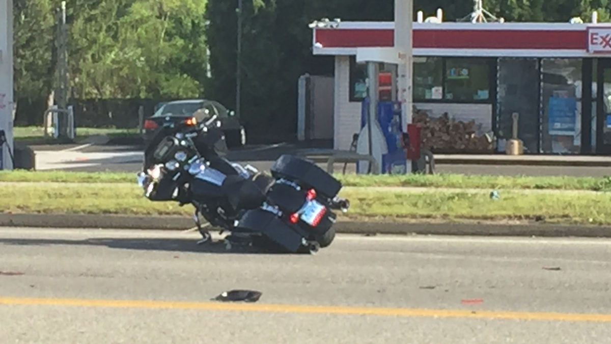 A motorcycle was involved in a crash on Foxon Road in East Haven Saturday.