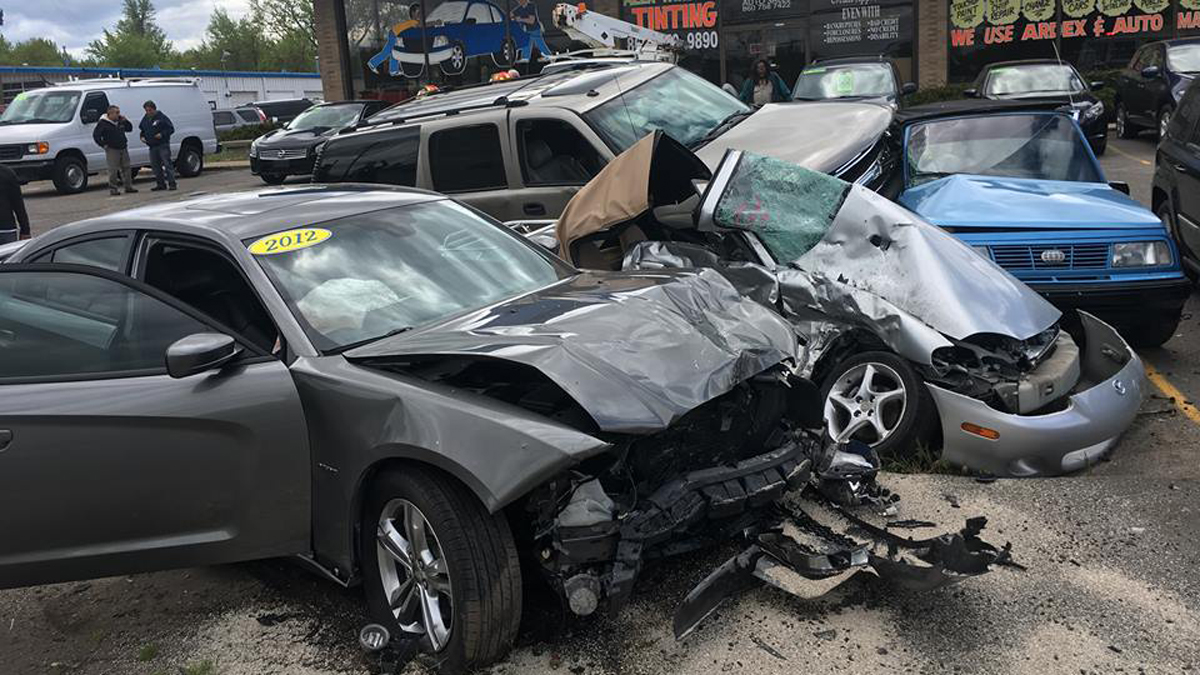 A driver crashed into three parked cars at a business on Route 5 in East Windsor Monday afternoon.