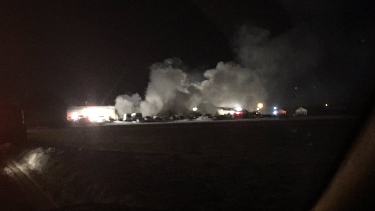 Fire broke out at a commercial building on Wagner Lane in East Windsor around 10 p.m. Saturday.