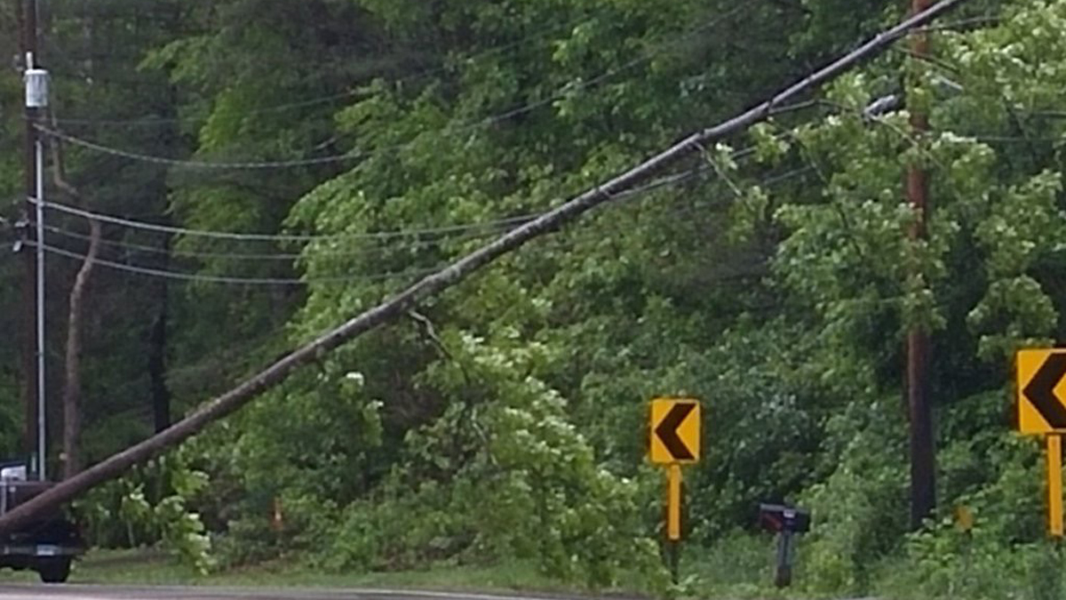 Route 140 in Ellington is closed after a tree came down on wires Tuesday morning.