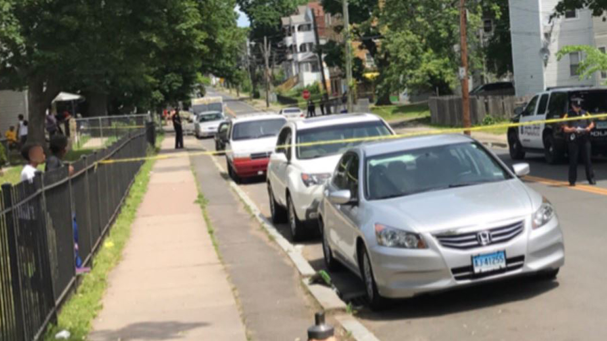 A man with gunshot wounds was found on Enfield Street in Hartford Sunday. He later died at the hospital.