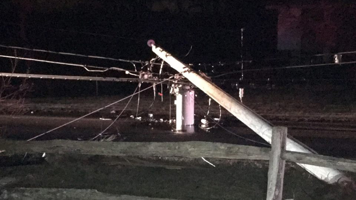 Winkler Road in East Windsor is expected to be closed for hours Tuesday after a car struck a pole shortly after midnight.