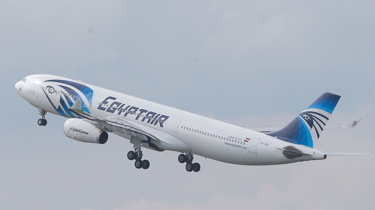 In this May 19, 2016 file photo, an EgyptAir Airbus A330-300 takes off for Cairo from Charles de Gaulle Airport outside of Paris. A French company says Wednesday, June 2, 2016 its equipment aboard a French naval ship has detected signals from one of the black box flight recorders on the EgyptAir flight that crashed into the Mediterranean Sea last month.