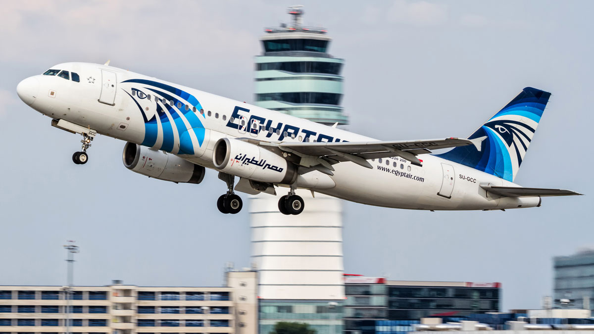 This August 21, 2015, file photo shows an EgyptAir Airbus A320 with the registration SU-GCC taking off from Vienna International Airport, Austria. Three air marshals were aboard flight MS804 that crashed while flying over the Mediterranean Sea on May 19, 2016.