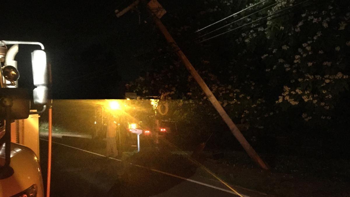 A car struck a pole on Pinney Street in Ellington Sunday.