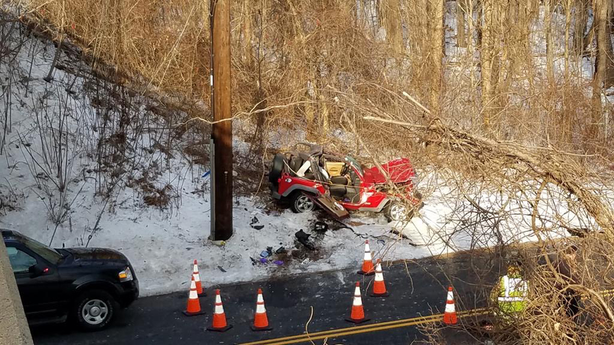 State police and the Enfield fire department responded after a car rolled off I-91 north and onto the road below.