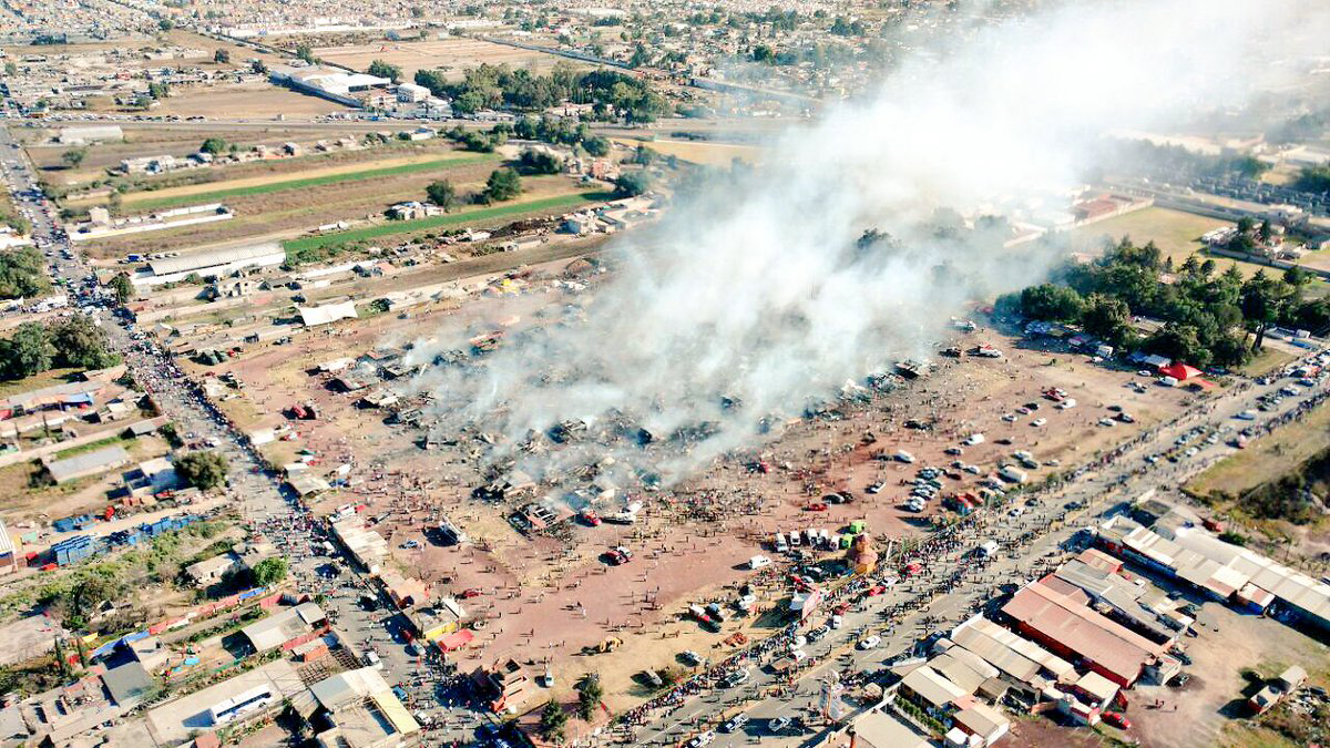 An overhead shot shows what remains of the San Pablito fireworks market, located in Tultepec just outside of Mexico City, Mexico, after a multi-colored explosion killed 27 people and injured 60.