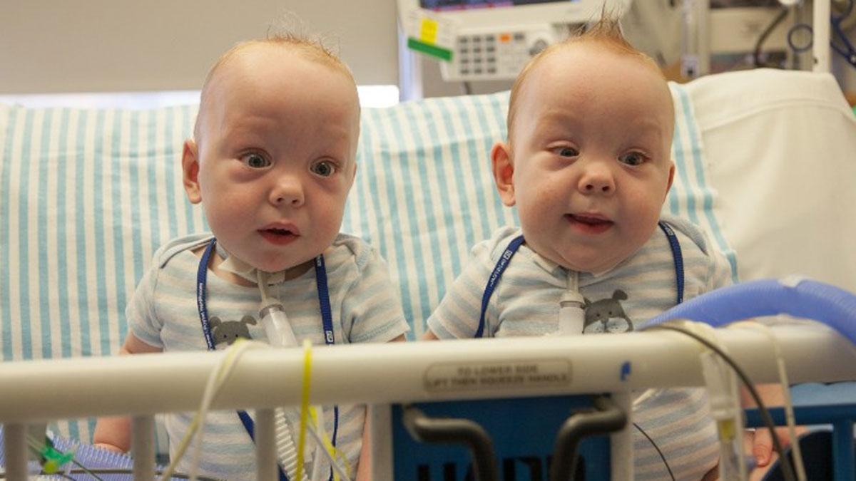 Twins Owen and Emmett Ezell.