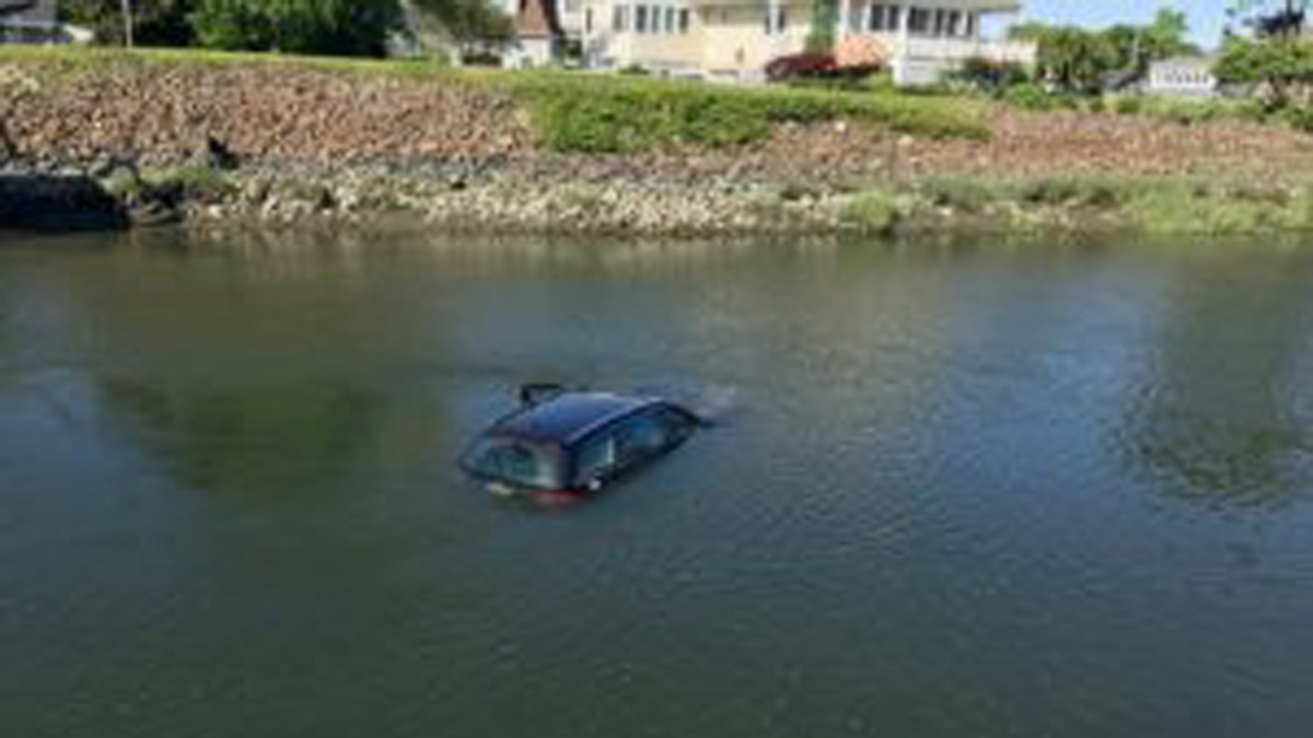 No one was hurt when this car went into Pine Creek in Fairfield Friday.