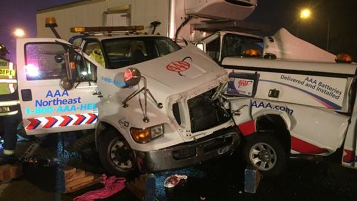 Two people were trapped after a crash involving a tow truck on I-95 south in Fairfield Friday night.